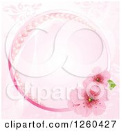 Clipart Of A Pink Round Frame With Pearls And Cherry Blossoms Over A Floral Pattern Royalty Free Vector Illustration by Pushkin