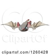 Clipart Of A Cute Flying Blue Eyed Vampire Bat Royalty Free Vector Illustration