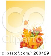 Clipart Of A Thanksgiving Background With A Pumpkin And Autumn Fall Leaves Over Text Space Royalty Free Vector Illustration