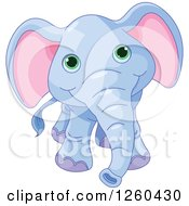Clipart Of A Cute Blue Baby Elephant With Big Green Eyes Royalty Free Vector Illustration by Pushkin