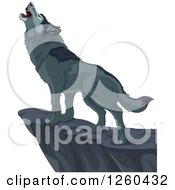 Clipart Of A Gray Wolf Howling On A Cliff Royalty Free Vector Illustration by Pushkin