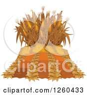 Clipart Of An Autumn Corn Maze And Crop Royalty Free Vector Illustration