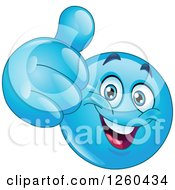 Clipart Of A Happy Blue Emoticon Smiley Face Holding A Thumb Up Royalty Free Vector Illustration