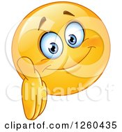 Clipart Of A Friendly Emoticon Smiley Face Reaching Out To Shake Hands Royalty Free Vector Illustration by yayayoyo
