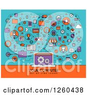 Clipart Of Icons Connected To A Laptop With Your Computer And Sample Text Royalty Free Vector Illustration by elena