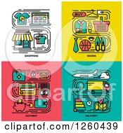 Clipart Of Shopping Goods Payment Delivery Icons Royalty Free Vector Illustration