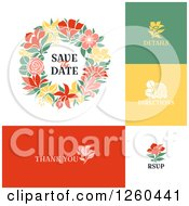 Clipart Of A Save The Date Wedding Wreath And Icons Royalty Free Vector Illustration by elena