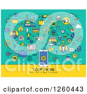 Clipart Of A Cell Phone With Sample Text And Icons Royalty Free Vector Illustration by elena