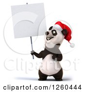 Clipart Of A 3d Christmas Panda Holding A Blank Sign Royalty Free Illustration by Julos