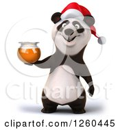 Clipart Of A 3d Christmas Panda Holding A Honey Jar Royalty Free Illustration by Julos