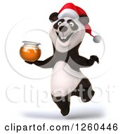 Clipart Of A 3d Christmas Panda Jumping With A Honey Jar Royalty Free Illustration by Julos
