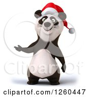 Clipart Of A 3d Christmas Panda Presenting Royalty Free Illustration by Julos