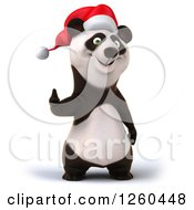 Clipart Of A 3d Christmas Panda Holding A Thumb Up Royalty Free Illustration by Julos