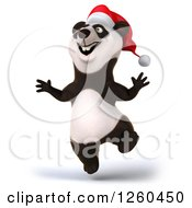 Clipart Of A 3d Excited Christmas Panda Jumping Royalty Free Illustration by Julos