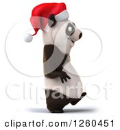 Clipart Of A 3d Christmas Panda Walking Royalty Free Illustration by Julos