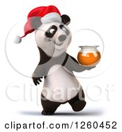 Clipart Of A 3d Christmas Panda Walking With A Honey Jar Royalty Free Illustration by Julos