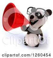 Clipart Of A 3d Bespectacled Panda Announcing With A Megaphone Royalty Free Illustration by Julos