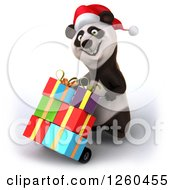 Clipart Of A 3d Christmas Panda Moving Gifts On A Dolly Royalty Free Illustration by Julos