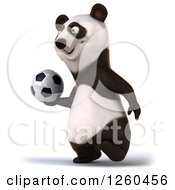 Clipart Of A 3d Panda Walking With A Soccer Ball Royalty Free Illustration by Julos