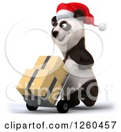 Clipart Of A 3d Christmas Panda Moving Boxes On A Dolly Royalty Free Illustration by Julos
