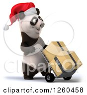 Clipart Of A 3d Christmas Panda Moving Boxes On A Dolly Royalty Free Illustration