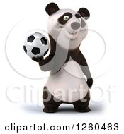 Clipart Of A 3d Panda Holding A Soccer Ball Royalty Free Illustration by Julos