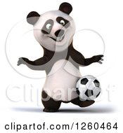 Clipart Of A 3d Panda Playing Soccer Royalty Free Illustration by Julos
