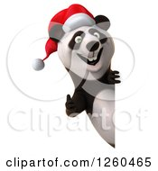 Clipart Of A 3d Christmas Panda Holding A Thumb Up Around A Sign Royalty Free Illustration by Julos