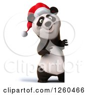 Clipart Of A 3d Christmas Panda Pointing Around A Sign Royalty Free Illustration by Julos