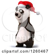 Clipart Of A 3d Christmas Panda Facing Left Royalty Free Illustration by Julos