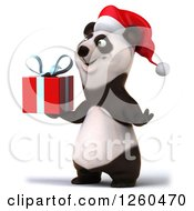 Clipart Of A 3d Christmas Panda Holding A Gift Royalty Free Illustration by Julos