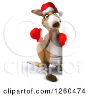 Clipart Of A 3d Christmas Boxer Kangaroo Waving Around A Sign Royalty Free Illustration by Julos