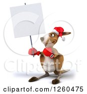 Clipart Of A 3d Christmas Boxer Kangaroo Holding Up A Blank Sign Royalty Free Illustration by Julos
