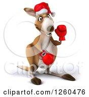 Clipart Of A 3d Christmas Boxer Kangaroo Waving Royalty Free Illustration