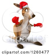 Clipart Of A 3d Christmas Boxer Kangaroo Royalty Free Illustration by Julos