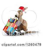 Clipart Of A 3d Christmas Kangaroo Pushing Gifts On A Dolly Royalty Free Illustration by Julos