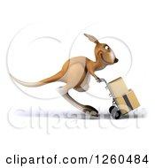 Clipart Of A 3d Kangaroo Pushing Boxes On A Dolly Royalty Free Illustration by Julos