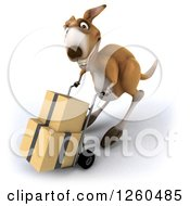 Clipart Of A 3d Kangaroo Pushing Boxes On A Dolly Royalty Free Illustration