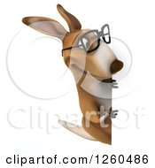 Clipart Of A 3d Bespectacled Kangaroo Looking Around A Sign Royalty Free Illustration