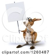 Clipart Of A 3d Bespectacled Kangaroo Holding Up A Blank Sign Royalty Free Illustration
