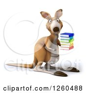 Clipart Of A 3d Kangaroo Holding A Stack Of Books Royalty Free Illustration by Julos