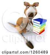 Clipart Of A 3d Kangaroo Holding A Stack Of Books And A Thumb Up Royalty Free Illustration by Julos