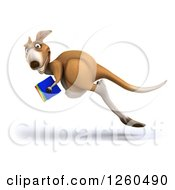 Clipart Of A 3d Kangaroo Leaping With Books Royalty Free Illustration by Julos