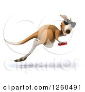 Clipart Of A 3d Kangaroo Wearing Sunglasses And Leaping With A Book Royalty Free Illustration by Julos