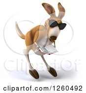 Clipart Of A 3d Kangaroo Wearing Sunglasses And Hopping With A Book Royalty Free Illustration by Julos