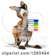 Clipart Of A 3d Kangaroo Wearing Sunglasses And Holding A Stack Of Books Royalty Free Illustration by Julos