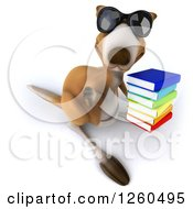 Clipart Of A 3d Kangaroo Wearing Sunglasses Giving A Thumb Down And Holding A Stack Of Books Royalty Free Illustration by Julos