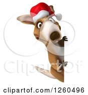 Clipart Of A 3d Christmas Kangaroo Looking Around A Sign Royalty Free Illustration by Julos