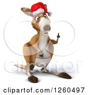 Clipart Of A 3d Christmas Kangaroo With An Idea Royalty Free Illustration by Julos
