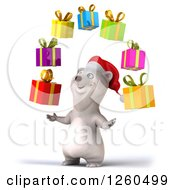 Clipart Of A 3d Christmas Polar Bear Juggling Gifts Royalty Free Illustration